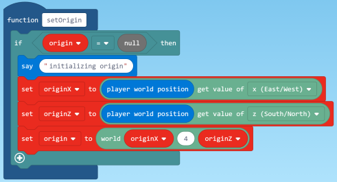 Set Origin code